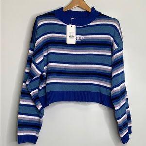 MEGA STUDIO • Cropped Knit Striped Sweater